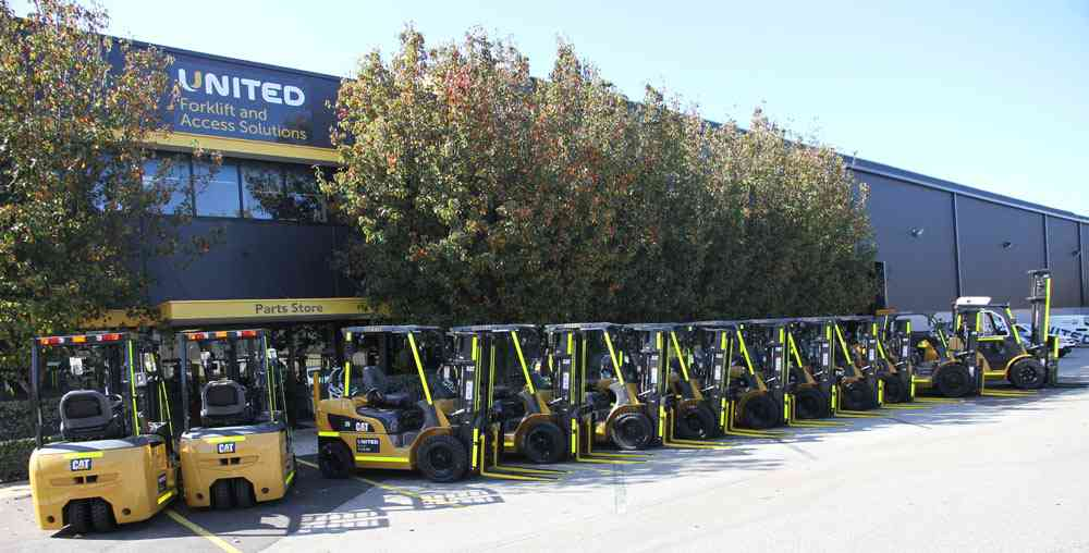Cat forklifts ready to be delivered to SCT Logistics' Perth facility