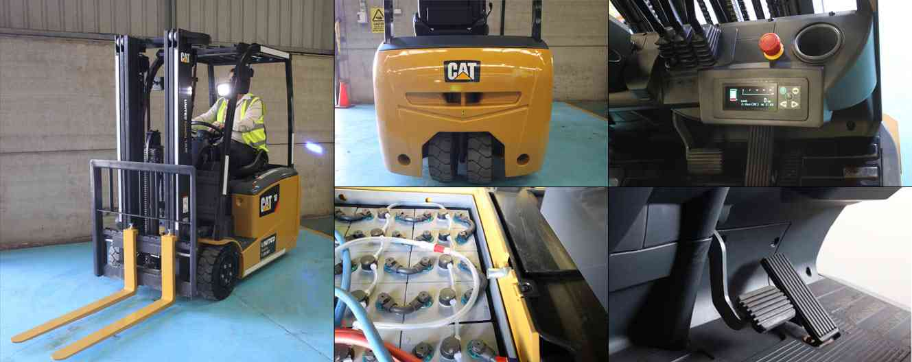 CAT three wheel electric forklift features