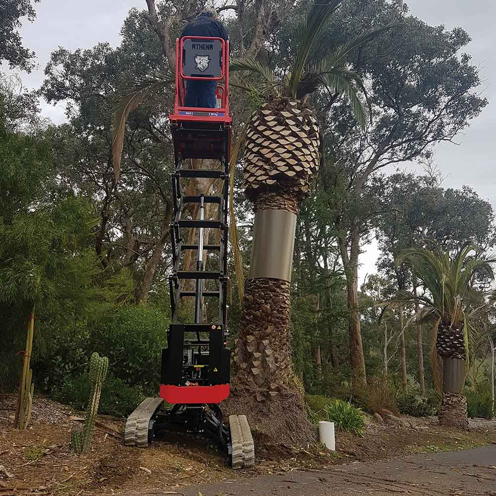 Athena bi-levelling tracked scissor lift perfect for pruning trees
