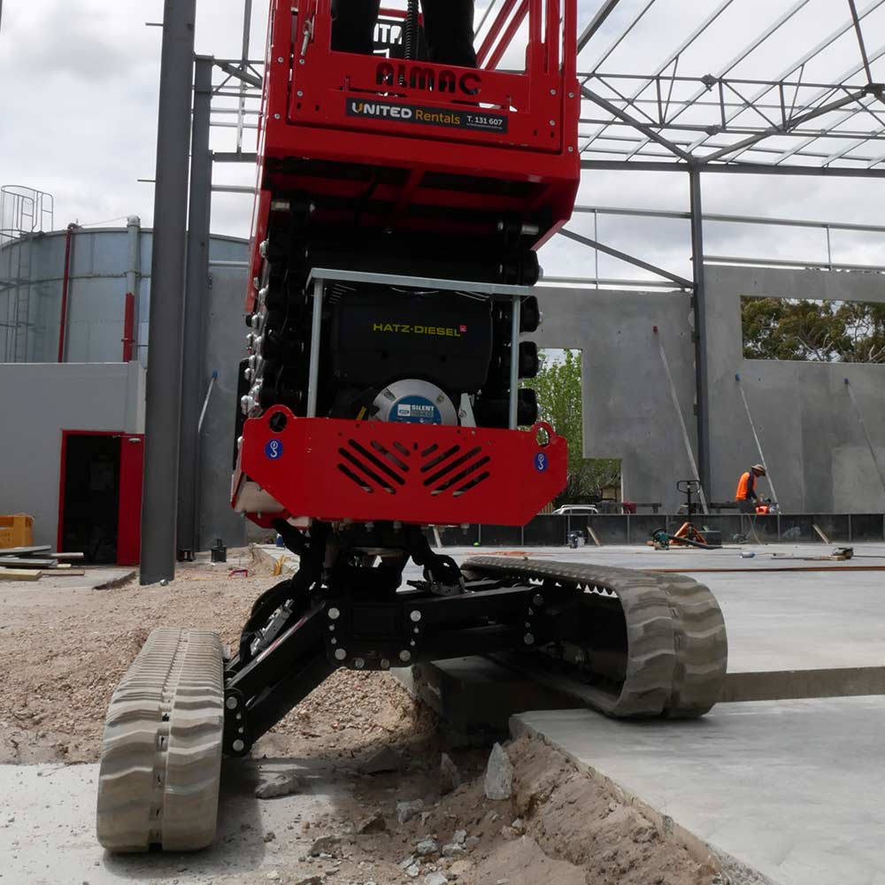 Athena bi-levelling tracked scissor lift is perfect for construction sites