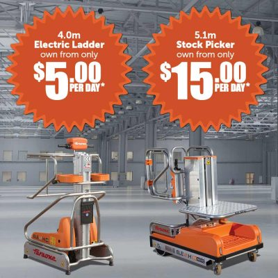 Elevah electric ladder and stock pickers own from $5.00 per day