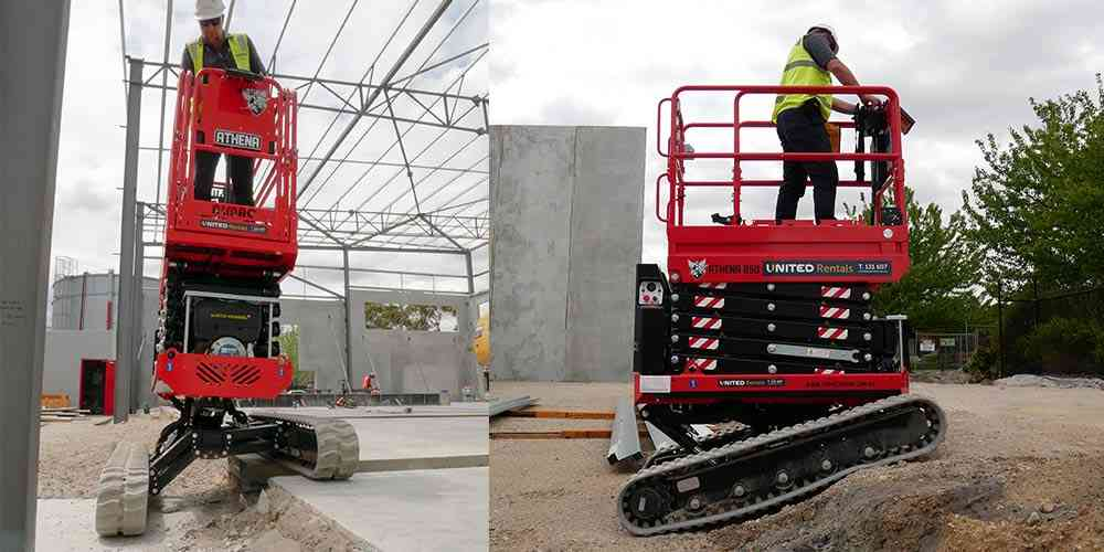 The Athena scissor lift can operate on steep slopes and just about all terrains.