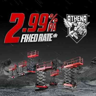 2.99% fixed finance special on the Athena bi-levelling scissor lift