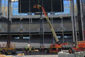 JLG ultra telescopic boom being used to setup the Ed Sheerin's main stage