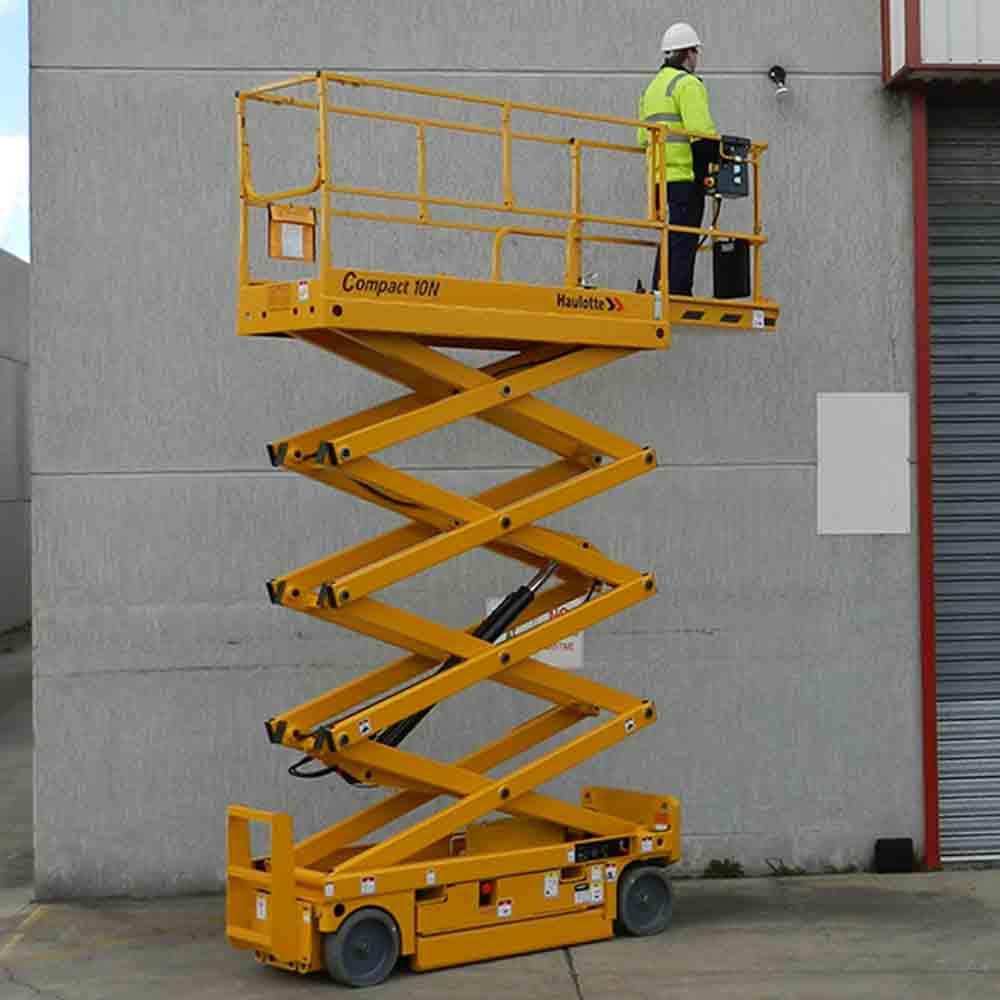 Compact Articulating Boom Lift : Haulotte electric scissor lift compact united equipment