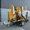 Comet trailer mounted boom lift is compact and only takes one parking bay.