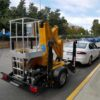Comet trailer mounted boom lift can be towed by most mid-sized sedans.