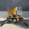 Comet trailer mounted boom lift is compact even when stabilisers are deployed