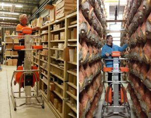 The Elevah electric ladder is also idea in the warehouse as well as food and beverage applications.